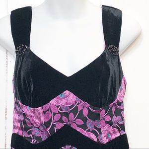 Anthropologie Silk & Velvet Fit Flare Dress